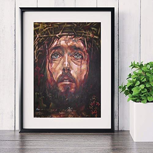 yhyxll Jesus Christus Glänzende Porträt Leinwand Kunstdruck Malerei Poster Wandbilder Für Zimmer Dekorative Wohnkultur Bild Kein Rahmen D 50x70 cm
