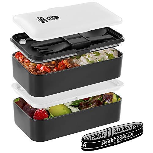 Smart Gorilla Tools Premium Off White Bento Box - Dein Essen immer dabei haben - Lunchbox mit zwei Behältern - Brotdose für Schule und Arbeit - mikrowellengeeignet - inkl. Besteck und Unterteilungen -