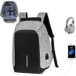 Anti-robo Mochila para Portátil, Mochilas Escolares Juveniles para hombres y mujeres, Mochila Casual Chico con USB Puerto de Carga (Gris)