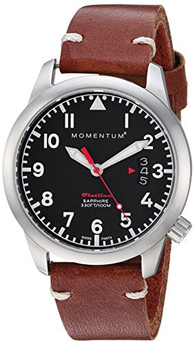 Momentum Women's 'Flatline 36' Quartz Stainless Steel and Leather Casual Watch, Color:Brown (Model: 1M-SP19BS2C)