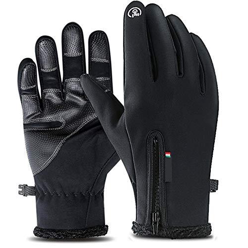 Winterhandschuhe für Herren Touchscreen Schwarz Handschuhe Wasserdichter Fahrrad Handschuhe Outdoor Sport Winterhandschuhe, Radsport Handschuhe, Warme Winddicht Rutschfestes Geeignet für Winter