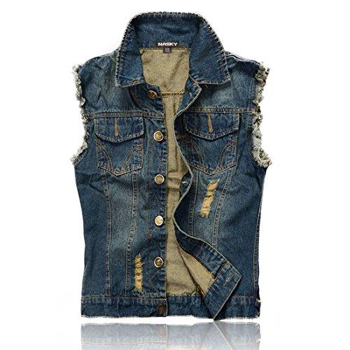 NASKY Uomo In forma Retro Strappato Demin Jeans Gilet Giacca panciotto della maglia della maglia della parte superiore