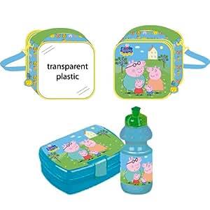Portameriendas Peppa Pig Family with water bottle and sandwich maker