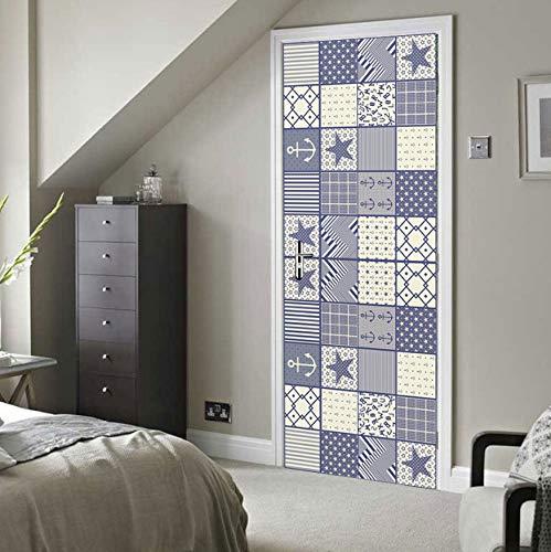 DEENLI Tür-Wand-Papier-Wandbild, Seestern-Anker-Muster, Tür-Hintergrund-Dekoration-Tapeten-PVC-Tür-Aufkleber Der Schlafzimmer-3D (Wand Papier Dekoration 3d)