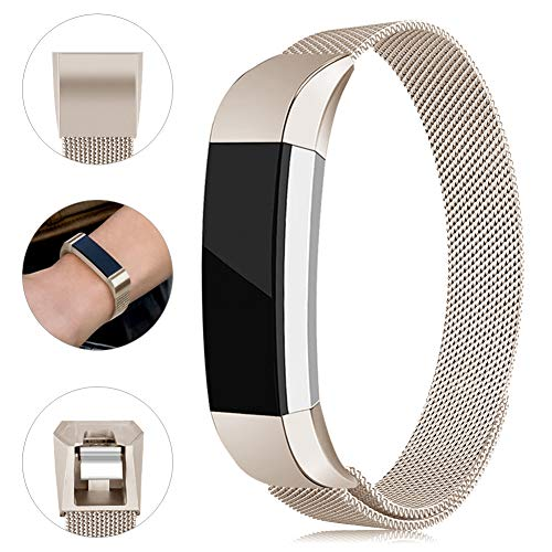 Onedream Kompatibel für Fitbit Alta Hr Ace Armband Damen Herren Metall Edelstahl Ersatzarmband Uhrenarmband Zubehör Kompatibel für Fitbit Alta Hr/Alta Champagner Kleine