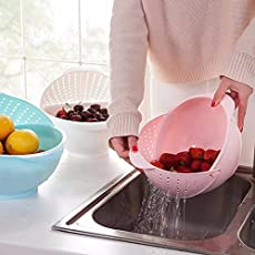 Zollyss 3 in 1 Kitchen Organizer Fruits And Vegetables Storage Washing Draining Basket Kitchen Accessories