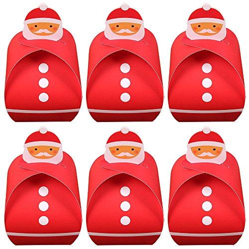 6 Stk Weihnachtsthema Faltschachteln Verpackung Papier Box Weihnachten Geschenk Candy Cupcake Kuchen Cookies Bäckerei Verpackung Rote