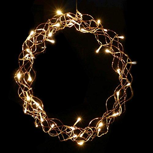 Lichterkranz 40 LED beleuchtet Ø 40 cm Metall Deko Türe Fenster für Weihnachten