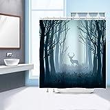 GWELL Hirsch Motiv Duschvorhang Wasserdichter Stoff Anti-Schimmel Duschgardine für Badezimmer 150x180cm Muster-D