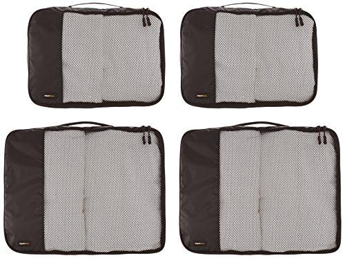 AmazonBasics Kleidertaschen-Set, 4-teilig, 2 mittelgroße und 2 große Kleidertaschen, Schwarz