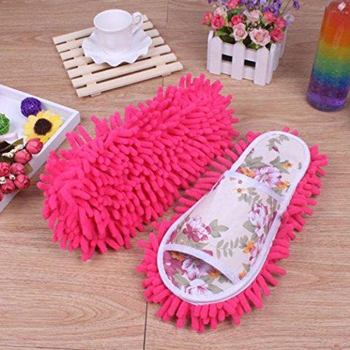 Hausschuhe,Setsail Hausschuhe mit Wischmopp-Optik Mikrofaser Hausschuhe Schlafzimmer Schuhe reinigen Bad, Büro, Küche (Pink)