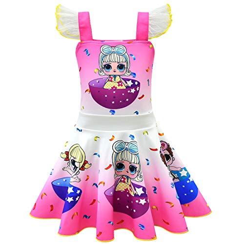 QYS Mädchen Kinder LOL Puppe Überraschung Prinzessin Kostüm Halloween Cosplay Kostüme Tanz Ballerina Party Outfit,Pink,140cm