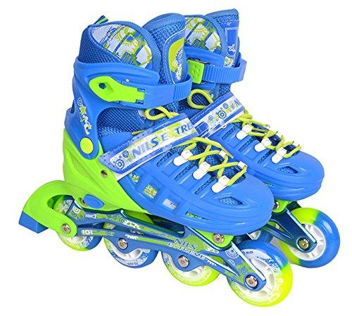Inlineskates Inline-Skates Inliner Rollschuhe Skate verstellbar Sport S-L NA1005 (Blau, S)