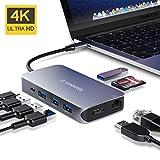 VANMASS USB C Hub 9 in 1 mit 4 VR Chips 90W PD Anschluss 4K HDMI Port USB Type C Adapter 4 USB 3.0...