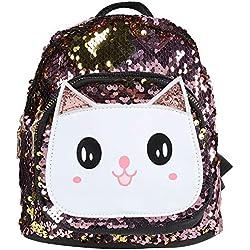 Mochila escolar para niños, mochila de dibujos animados lindo para niños con lentejuelas Bolsa de gatito de felpa Bolsas de almuerzo para bebés y niñas en la guardería(Pink)