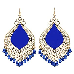 Fashionable Wedding Collection Blue Colour Earrings By Lazreena