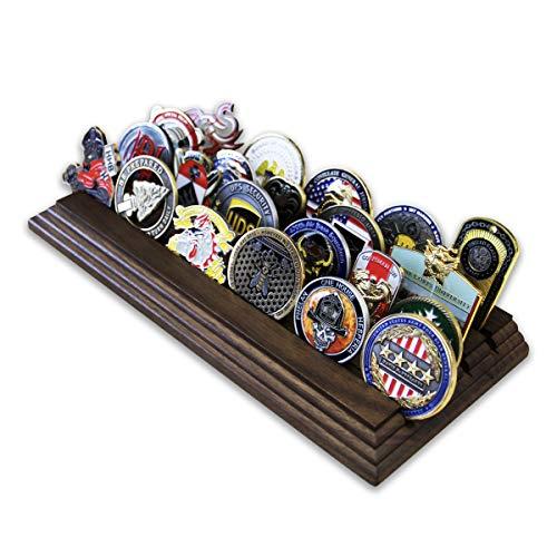 Coins For Anything Inc Münzhalter für Münzen, 4 Reihen - Militär Challenge Münzständer - für 19-25 Münzen, 4 Reihen (Massivwalnuss)