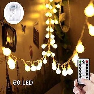 SUNNOW LED Guirnalda de Luces – 6M 60LED Guirnaldas Luces,8Mods,IP65Impermeable Iluminación Navidad para Interior/Exterior,Bolas Decorativas Luces para Fiesta y Decoración del Jardín (blanco cálido)