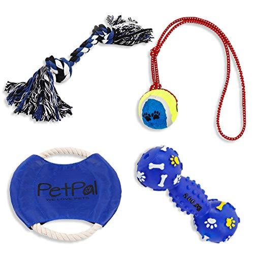 PetPäl Hundespielzeug Set Perfekte Hunde Spielzeug mit Ball am Seil, Frisbee, Quietscher & Knotenseil für den Hund Groß & Klein | Auch für Welpen Geeignet -