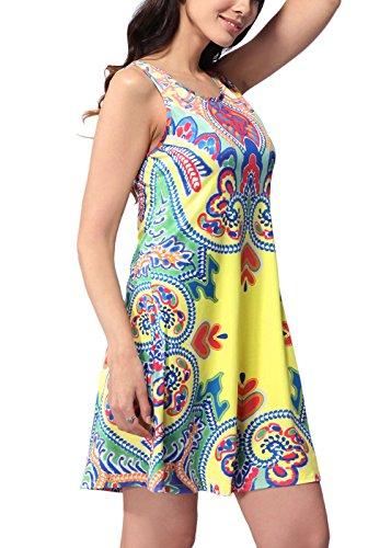 Shinekoo Femmes Summer Imprimé Floral Sans Manches Décontractée Mini Robe Floral 14