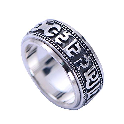 FORFOX Herren Damen Schwarz Sterling Silber Buddhismus Om Mani Padme Hum Mantra Spinner Ring Band 10mm gr??e 63