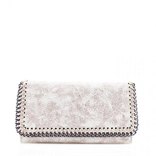 LeahWard® Damen Synthetik Leder Kette Klappe Geldbörsen Brieftasche Für Sie Zum Damen(BEIGE) (Beige Klappe)