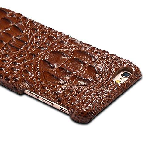 EKINHUI Case Cover Luxus 3D Krokodil Korn Haut Textur Echt Leder Stoßstange Fall Shockproof Hard Back Cover für iPhone 6 Plus & 6s Plus ( Color : Brown ) Brown