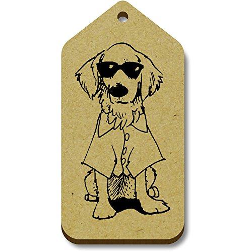 Azeeda 10 x 'Hund mit Sonnenbrille' 66mm x 34mm Hölzerne Tags (TG00074489)