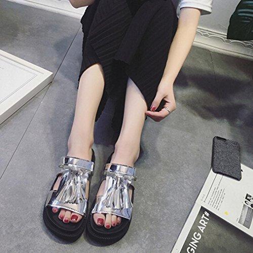 Transer® Damen Sandalen/Slipper Quaste Blockabsatz Kunstleder+Gummi Grau Schwarz Weiß Splitter Sandalen (Bitte achten Sie auf die Größentabelle. Bitte eine Nummer größer bestellen) Splitter