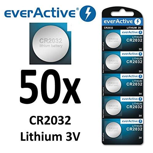 50 x everActive CR2032 Lithium 3Volt! CR 2032 BLISTER NEU Ø 20mm , Höhe 3,2mm
