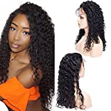 Maxine 360 Lace Wig Pre Plucked 180% Density Hunman Hair Wigs 9a Curly Wave Human Hair Wigs for Women with Baby Hair 360 Lace Frontal Wig 12'1B with Adjustable Strap