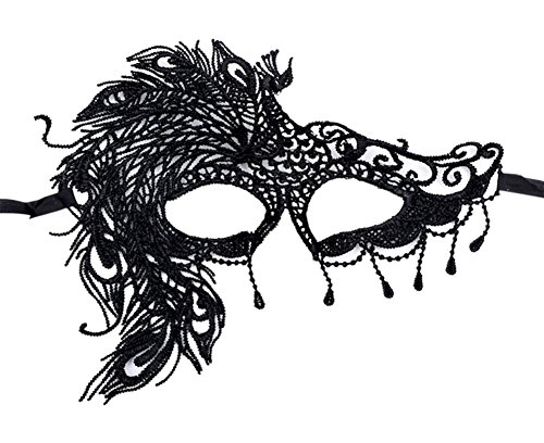Moolecole Halloween Maske Sexy Weiblich Schnüren Spaß Maske Tanzen Makeup Maske Party Ball Abschlussball Hälfte Gesicht Maske Pfau (Pfau Kostüm Ideen)