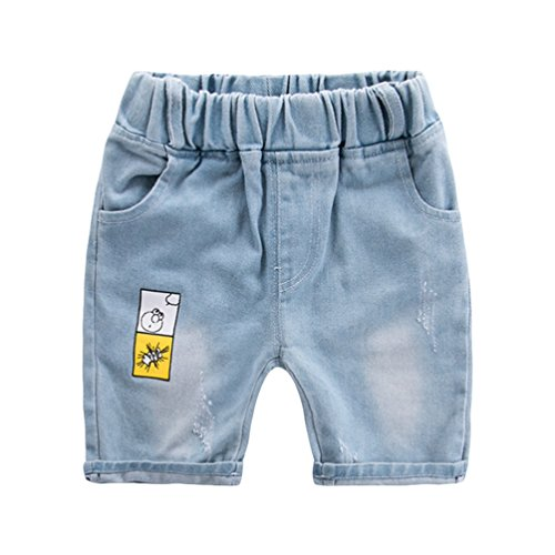 Yujeet Lose Weich Freizeit Gedruckt Jeans Shorts Komfortable Hautfreundliche Atmungsaktive Elastische Taille Zerrissene Loch Stil Gerade Jeans Shorts Für Baby Jungen Als Bild8 100 - Jeans Zerschlissene