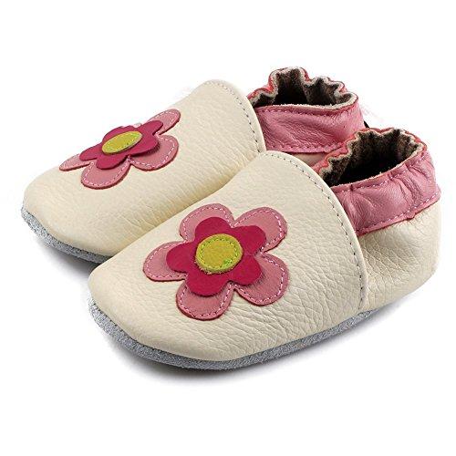 FREE FISHER Unisex Scarpe Casuali Sandali per Bambino/Bambina in Pelle Morbida Imparare a Camminare fiore rosa