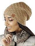 Damen Frauen Mütze mit Flecht Muster warme Feinstrick Beanie Mütze-Damen Frühling Herbst Mütze-Herren Fleece Innenfutter (654) (Camel)