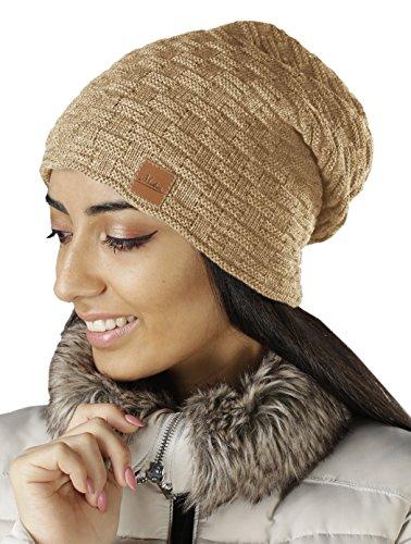 Damen Frauen Mütze mit Flecht Muster warme Feinstrick Beanie Mütze-Damen Frühling...