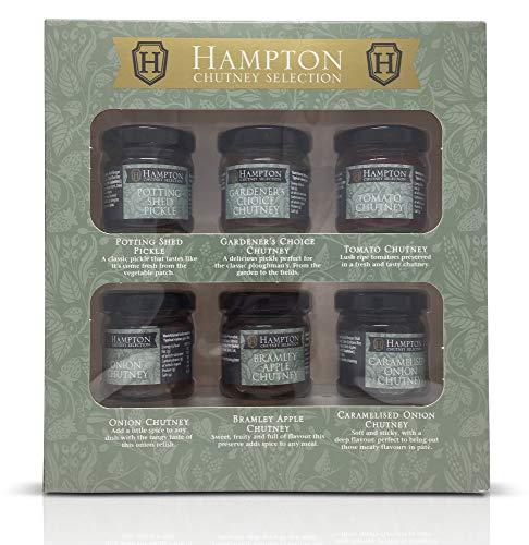 Hampton Preserves Feinste Auswahl Chutneys & Pickles Geschenk-Set Mini 35g Gläser, einschließlich Potting Shed Pickle, Gärtner Wahl Chutney, Tomate, Zwiebel, Bramley Apple, karamellisierte Zwiebel