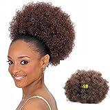 Grande sintetico coda di cavallo ricci afro Kinky extension ricci con coulisse coda Puff donut chignon parrucca nera Afroamericana donna corto Hairpieces afro pom pom