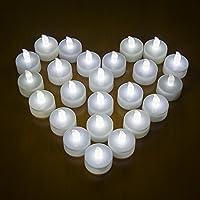 24 LED Bougie sans flamme MAXAH bougie à LED belle décoration de maison pour fête demande en mariage soirée anniversaire camping avec une pile CR2032 pour 70+ heures de fonctionnement Blanche