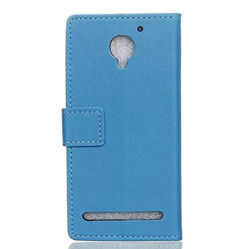 Solid Color Kas Textur Muster Leder Schutzhülle Case Horizontal Flip Stand Hülle mit Karten Slots für Lenovo VIBE C2 ( Color : Blue , Size : Lenovo VIBE C2 ) Blue