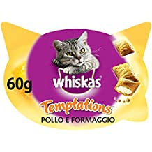 Whiskas Temptations Snack per Gatto con Pollo e Formaggio 60 g - 8 Vaschette