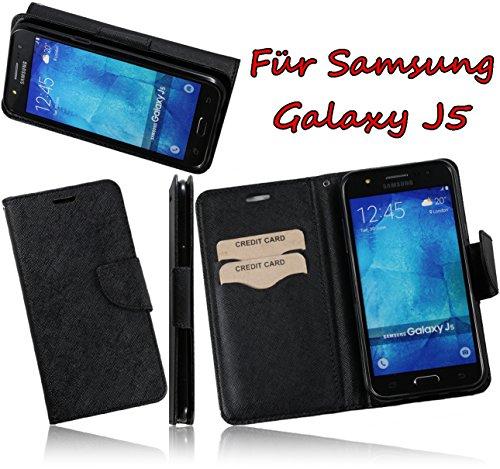 Für Samsung Galaxy J5 SM-J500F mit weichen TPU Soft Case Hülle BookStyle PU Leder Handytasche mit Austellfunktion Book Wallet mit EC-/ Kreditkarten Fächer und Staufach Tasche (Schwarz/Black)