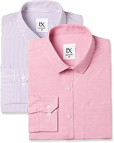 Excalibur by Unlimited Men's Solid Regular Fit Formal Shirt (Pack of 2) (275368074 ASSORTED 40)