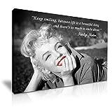 MARILYN MONROE Smile Zitat Leinwand Kunstdruck Bild 76cm x 50cm