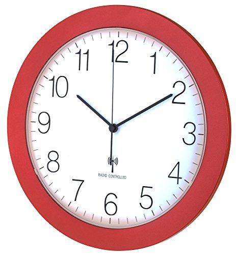 Funk-Wanduhr TFA 60.3512 mit Lautlos Sweep-Uhrwerk, 300 mm (Rot Metallic)