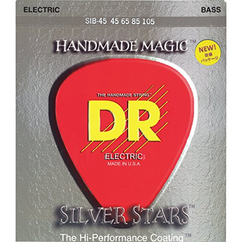 DR HANDMADE DE 4STRING SILVER STARS 45–105COATED CUERDAS PARA BAJO