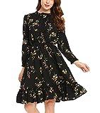 Zeela Damen Herbst Langarm kleid Knielang Rüschen Floral kleid A-linie Blumen Vintage Abendkleid Casualkleid Cocktailkleid Partykleid