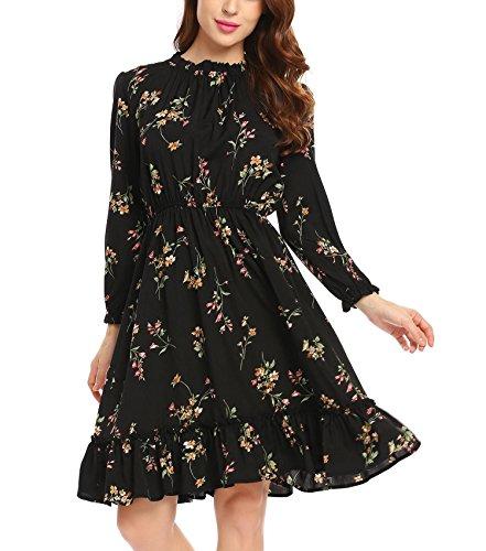 Zeela Damen Herbst Langarm kleid Knielang Rüschen Floral kleid A-linie Blumen Vintage Abendkleid...