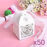 JZK® 50 x Bianco scatoline scatole perlato portaconfetti bomboniere segnaposto per matrimonio compleanno battesimo festa comunione nascita Natale, porta confetti, regalo o gioielli, cuore