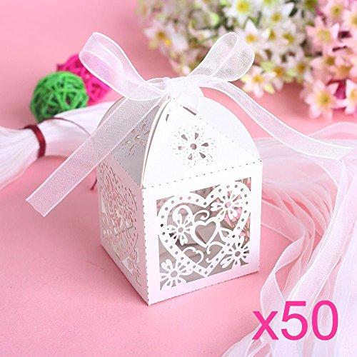 Jzk 50 perlato bianco cuore scatolina portaconfetti scatola bomboniera segnaposto per matrimonio compleanno battesimo comunione nascita natale